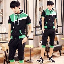 Bay Go Mall - Set: Color-Block Short-Sleeve Hoodie + Capri Sweatpants