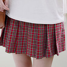 Sechuna - Band-Waist Plaid Pintuck Skirt