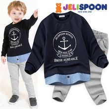 JELISPOON - Kids Set: Shirt-Hem Printed Pullover + Sweat Pants