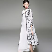 Dyder - Set: 3/4-Sleeve Printed Long Cardigan + Slit-Side Layered Dress