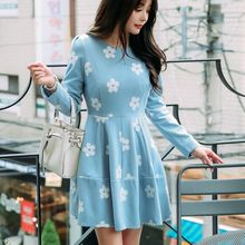 Dowisi - Floral Print Seamed Long Sleeve A-Line Dress