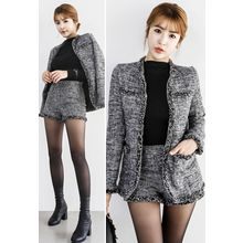 INSTYLEFIT - Set: Open-Front Tweed Jacket + Shorts