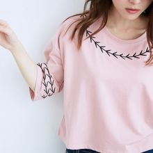 BAIMOMO - Elbow-Sleeve Embroidered Cropped Top