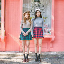 chuu - Pleated Plaid Mini Skirt