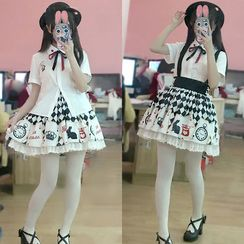 Cosgirl - Set: Poker Print Short / Long Sleeve Shirt + Suspender Skirt