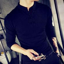 Breeson - Stand Collar Knitted Long-Sleeve Henley