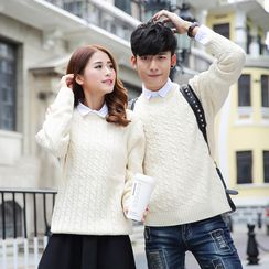 hooboo - Couple Matching Cable-Knit Sweater