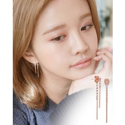 Miss21 Korea - Rhinestone Dual-Bar Earrings