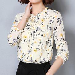 Cottony - Floral Print Long-Sleeve Chiffon Blouse