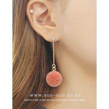 soo n soo - Pompom Chain Drop Earrings