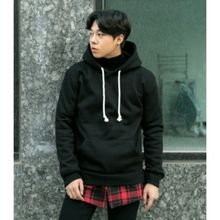 ABOKI - Checked-Hem Hooded Top