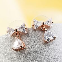 Trend Cool - Rhinestone Bow Earrings