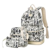 VIVA - Set of 3: Owl Print Backpack + Crossbody Bag + Pouch