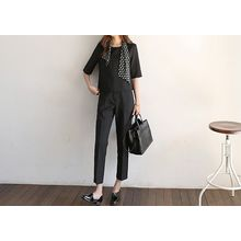 Hello sweety - Set: Elbow-Sleeve Zip-Back Top + Tapered Pants