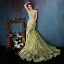 Coeur Wedding - Embellished Strapless A-Line Evening Gown with Train