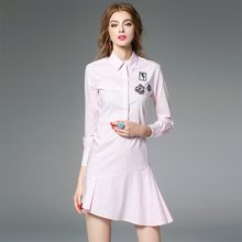 Y:Q - Asymmetric Applique Long-Sleeve Shirtdress