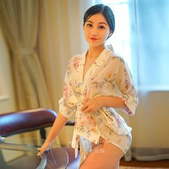 Colorful Days - Set: Floral Print Kimono Top + Thongs