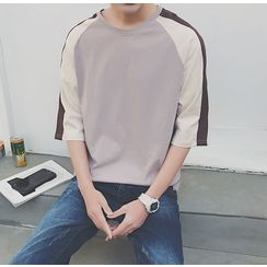 Bestrooy - Color Block Elbow-Sleeve T-Shirt