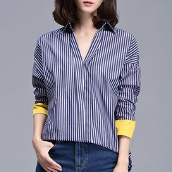 Sentubila - Striped V-Neck Loose Fit Shirt