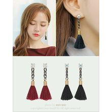 soo n soo - Rhinestone Tasseled Drop Earrings