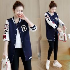 Yumerakka - Applique Long Baseball Jacket