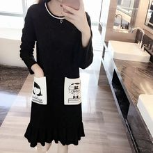 VIZZI - Cartoon Pocket Long-Sleeve Dress