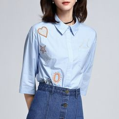 Sentubila - 3/4-Sleeve Embroidered Blouse