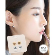 Miss21 Korea - Set of 2: Hexagon Stud Earrings (4 pcs)