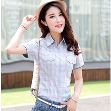Carreau - Plaid Short-Sleeve Blouse