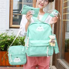 AIQER - Set of 5: Cartoon Print Backpack + Crossbody bag + Zip Pouch + Drawstring Pouch + Pencil Case