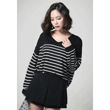 REDOPIN - V-Neck Stripe Sweater