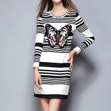 Merald - Embroidered Butterfly Stripe Long-Sleeve Knit Dress