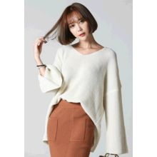 REDOPIN - V-Neck Rib-Knit Sweater