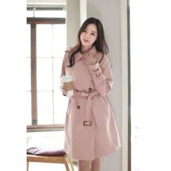 MyFiona - Flap-Front Trench Coat with Belt
