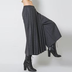 FASHION DIVA - Pleat-Front Wool Blend Wide-Leg Pants