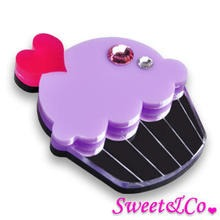 Sweet & Co. - Swarovski Crystal Silver Purple Cupcake Pin