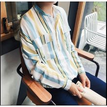 Bestrooy - Striped Band Collar Shirt