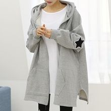 Fashion Street - Star Applique Hooded Long Zip Jacket