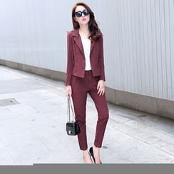 Romantica - Set: Notched-Lapel Double-Breasted Striped Jacket + Striped Pants