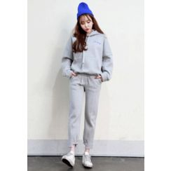 Dalkong - Set: Hooded Drop-Shoulder Sweatshirt + Sweatpants