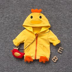 MOM Kiss - Baby Chicken Applique Hooded Zip Jacket