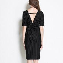 Isadora - Pinstriped V-Neck Sheath Dress