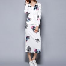 Merald - Set: Print Hooded Jacket + Skirt