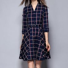 Merald - Check Long-Sleeve V-neck Dress