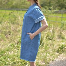 JUSTONE - Fray-Edge Half-Placket Denim Dress