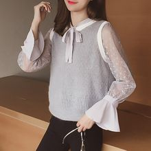 Cocofield - Set: Long Sleeve Lace Top + Camisole Top + Knit Vest