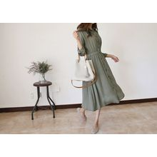 Hello sweety - Band-Waist Shirt Dress
