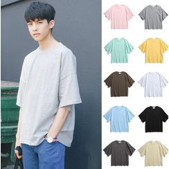 Bestrooy - Plain Elbow-Sleeve T-Shirt