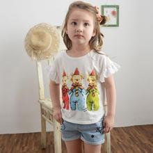 Lemony dudu - Kids Lace-Trim Cartoon Print T-Shirt
