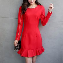 Queen Bee - Long-Sleeve Ruffle Trim Dress